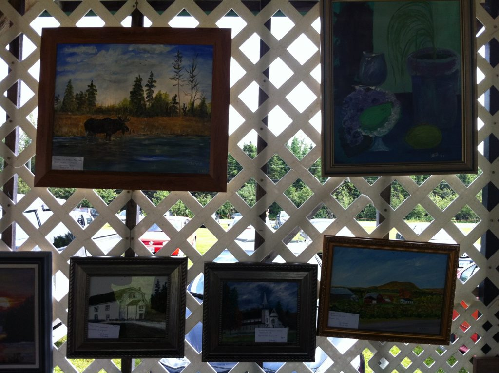 Outdoor Art Gallery with paintings by local artist Delores Bohan